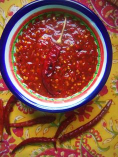 Dried Chiles~ Staples of a Mexican Kitchen. A variation on a Chile de Arbol Hot Sauce.