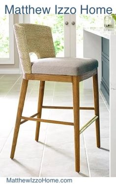 Shop the Alona Modern Classic Woven Seagrass Beige Upholstered Teak Counter Stool and other Bar & Counter Stools at Kathy Kuo Home 26 Bar Stools, Counter Height Stools, Swivel Bar Stools, Bar Chairs, Side Chairs, Seagrass Bar Stools, Dining Chairs, Island Stools, Kitchen Stools