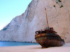 Zakynthos, one of the Ionian Islands in Greece! The island is also home to Navagio beach, known for a famous shipwrecked vessel from 1980 that still sits in the sand Top Photos, Cap Vert, Abandoned Ships, Hidden Beach, Beaches In The World, Most Beautiful Beaches, Greek Islands, Greece Travel, Belle Photo