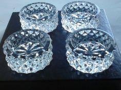 4 PIECE SET VINTAGE FOSTORIA CRYSTAL PRESSED GLASS SALT CELLARS DIPS BUTTER PATS #Fostoria