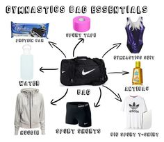 """Gymnastics bag essentials :))"" by juliakul on Polyvore"