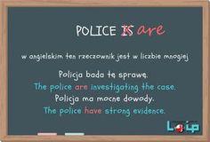 Ku przestrodze i kalki językowe (common mistakes in English) rzeczownik police (angielski z Loip) Investigations, Study