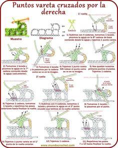 from 120 basic crochet techniques Crochet Instructions, Crochet Diagram, Crochet Stitches Patterns, Filet Crochet, Crochet Motif, Knitting Patterns, Crochet Gratis, Patron Crochet, Crochet Cord