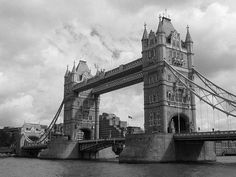 London, Tower Bridge in mid September 2007 with perfect weather / original pic changed to b&w with Photoshop CS2
