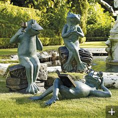 I seriously love these frogs from Frontgate. I know it's goofy. Frog Statues, Garden Statues, Garden Sculpture, Garden Frogs, Lawn And Garden, Outdoor Gifts, Outdoor Decor, Outdoor Living, Reading Garden