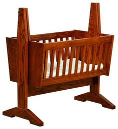 Chelsea Home Dorset Mission Baby Cradle Pad not Included in Red Oak