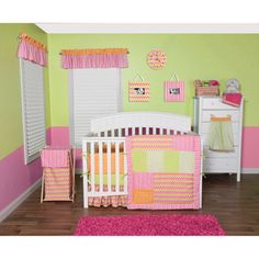 @Overstock - The Savannah Collection combines a chevron pattern with patches of variegated stripes, mini dots, lattice and geometric circles. This adorable crib set highlights a color palette of paradise and petal pink, tiger orange, chartreuse green and white.http://www.overstock.com/Baby/Trend-Lab-Savannah-5-piece-Crib-Bedding-Set/7753106/product.html?CID=214117 $92.99