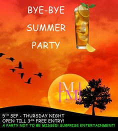 BYE BYE SUMMER! On Thursday September 05, 2013 at 6:00 pm - Friday September 06, 2013 at 3:00 am @ Mare Moto, 562 Kings Road, London SW6 2DZ, UK. Summary: Mare Moto is calling everyone who wants to shake the dance floor to express their frustration that the summer is ending.. Free Entry all night - call for guest list! Booking: http://atnd.it/13k8xf9 Price: FREE - AS USUAL. Category: Nightlife. Artists / Speakers: Mare Moto, Luigi Ferrara.