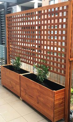Planter Boxes with Climbing Trellis. For my peas. Planter Boxes with Climbing Trellis. For my peas. Image Size: 474 x 796 Source Privacy Fence Landscaping, Privacy Fence Designs, Backyard Privacy, Landscaping Ideas, Privacy Fences, Pergola Ideas, Privacy Trellis, Landscaping Software, Pergola Kits