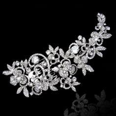 Luxury Wedding Flower Rhinestone Hair Comb by Voguejewelry4u, $31.99