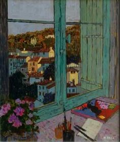 Mike Hall original 'View of Evening Village'