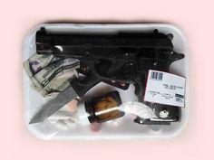 Image via We Heart It https://weheartit.com/entry/123014021/via/8822332 #acid #cash #crime #drugs #gun #jail #killer #knife #medicine #money #pills #society #pastelpink #sweetgrunge