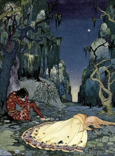 """""""Ourson and Violette"""" by Virginia Sterrett from Old French Fairy Tales (1920)"""