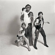 Harrison Ford, Carrie Fisher, Mark Hamill. Han Solo, Princess Leia, Luke Skywalker, Chewbacca: Star Wars, a New Hope.