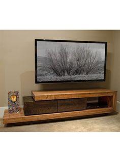 Mensola porta tv da parete in legno massello con frontale - Porta tv fai da te ...