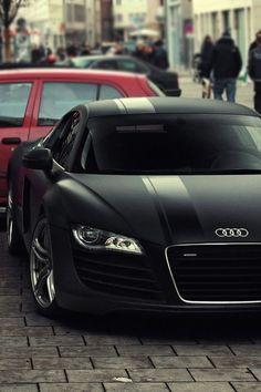 Matte Black Audi R8... Mmmm! :) I really love Audi's. German engineering tho.