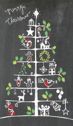 / faye buckingham / tree with icons / / faye buckingham / tree with icons / Christmas Doodles, Christmas Drawing, Christmas Art, All Things Christmas, Winter Christmas, Christmas Ornaments, Christmas Chalkboard Art, Blackboard Art, Chalkboard Drawings