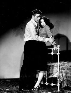 """Burt Lancaster in his first film, """"The Killers"""" with Ava Gardner, 1946."""