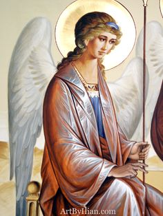 Fresco on altar wall Archangel Raphael, Archangel Gabriel, Angels Among Us, City Of Angels, Catholic Art, Religious Art, Web Gallery, Byzantine Icons, Guardian Angels