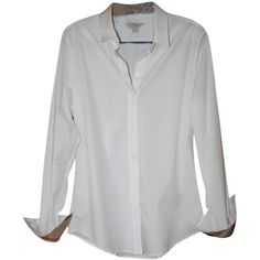 Pre-owned Burberry Brit White Basic Blouse Button Down Shirt ($199) ❤ liked on Polyvore featuring tops, blouses, white, button front shirt, button up shirts, spread collar shirt, white button down blouse and button up blouse