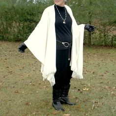 Creamy Off White Anti Pill Fleece Wrap, Poncho, Blanket Scarf or Shawl with Fringe--One Size Fits Most by YoungbearDesigns on Etsy