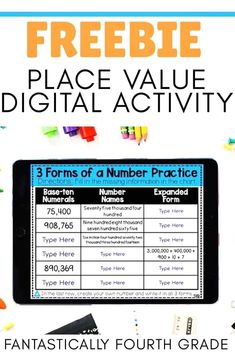 Are you looking for a digital resource to help your students practice writing the 3 forms of a number? This digital resource is easy to use and comes with differentiated charts. Click the image to grab this FREE resource! Elementary Teacher, Upper Elementary, Place Value Activities, Math Rotations, 4th Grade Math, Place Values, Writing Practice, Math Resources, Math Lessons