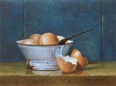 Stilleven met bruine eieren in vergietje, 18 x 24 cm, olieverf op paneel