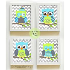 Owl nursery prints for any boys room or nursery. Set of four owls boys nursery art *** FRAMES ARE NOT INCLUDED , FOR DISPLAY ONLY. ***  This is a set of four 8 X 10 colorful nursery decor for boys room. This beautiful design includes four owl pints . The print can be customized with your choice of colors, printed to perfection for any little boys room, or nursery. Everything can be personalized to your liking. You can pick any 3 colors. The colors for this artwork are: Aqua/ Gray / lime…