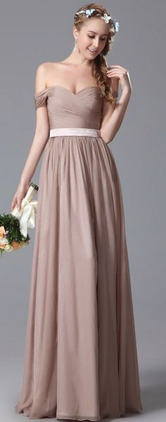 Simple Off Shoulder Bridesmaid Dress