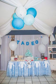 Teddy bear winter Baby shower blue and gray