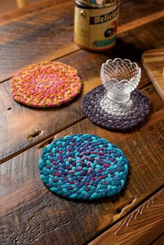 Sock Yarn Braided Trivets pattern by Martha Lazar. Requires less than 1 skein of fingering per trivet. Would be a great project for mini skeins!