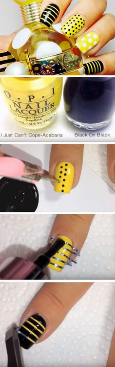 Marc Jacobs Honey | Click Pic for 22 Easy Spring Nail Designs for Short Nails 2016 | Yellow and Black Nail Designs for Summer Time