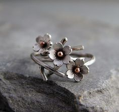 Cherry Blossom Branch Adjustable Ring in Silver, Spring Jewelry, 1 ring MADE to ORDER, Plum blossom, Twig Jewelry, Branch Ring,. $39.00, via Etsy.