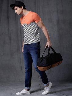 b2da7bb597c Buy WROGN Orange   White Striped Henley Neck T-shirt online