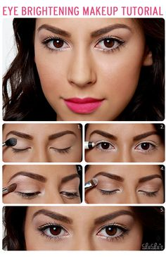 If your eyes ever need that extra perk, try this simple how-to. It's perfect for any eye color, and lets you showcase the brighter side of your lipstick collection as well! (Pretty eye brightening makeup tutorial)