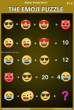 The Emoji Puzzle:Genius Puzzle Series #14. Math puzzles, Only for Genius math puzzles. Fun math equations. Puzzles for adults. School kids puzzles. Brain teasers puzzles question. #math #puzzle