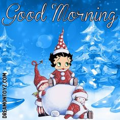 Good Morning  -Betty Boop graphics and greetings:  http://bettybooppicturesarchive.blogspot.com/  AND https://www.facebook.com/bettybooppictures  Toddler Betty Boop and friends building a snowman #Christmas #Winter