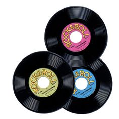 """Highlights: - prtd 2 sides - 9"""" - (3/Pkg) - packages per case: 12 Details: These Rock and Roll Party Plastic Records are Exactly what you Need to Decorate for your Party! Printed 2 sides. 3 records per package. 12 packages per case. Size: 9 inch. Individually packaged: (3/package). Pieces/packages per Case: 12."""