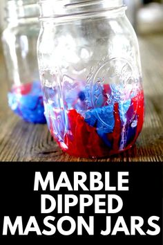 Great for gifts, home decor, and more, marble dipped mason jars are all the rage! Here, we show you how you can create your own with our EASY DIY Tutorial! Get the full tutorial at MomDot.com! Mason Jar Crafts, Mason Jar Diy, Painted Mason Jars, Diy Tutorial, Rage, Wine Glass, Craft Supplies, Birthday Gifts, Easy Diy