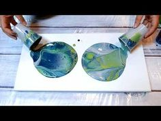 (50) Grey, Metallic Green & Deep Blue Acrylic Pour Dirty Cup Flip! - YouTube