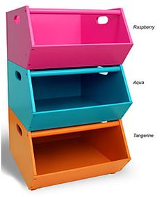 Perfect Bright Colored Stacking Storage Bins