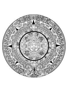 Dibujo para colorear calendario azteca