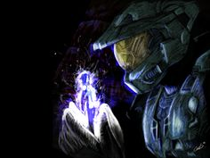 """Another Speedpainting ~ Photoshop CS, Wacom Graphire 4 After playing the """"Cortana""""-Level in Halo 3 with a friend. Master Chief and Cortana Master Chief And Cortana, Halo Master Chief, Halo Tattoo, Halo Series, Halo Game, Halo 2, Gaming Tattoo, Nerd Geek, Sci Fi Fantasy"""