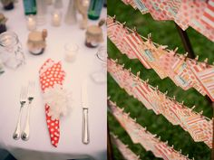 clothespins lined escort cards. are these decorative napkins? that would be a cute idea. take your napkin to tell your place then head to cocktai hour!
