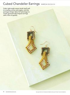 Seed beads and cubic right-angle weave are at the heart of these structural, geometric earrings. Beading Techniques, Beading Tutorials, Beading Patterns, Beaded Jewelry, Handmade Jewelry, Beaded Bracelets, Beaded Bead, Right Angle Weave, Bead Earrings