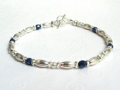 Beaded Bracelet Blue and Silver Tone Dainty Bead Bracelet