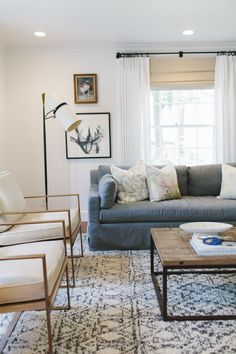 - THAT COFFEE TABLE! Brass chairs and gray sofa | Studio McGee
