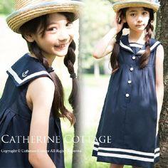 子どもワンピ 子ども服(女の子)子供服 紺 カジュアル 袖なしセーラーワンピース 100-150cm