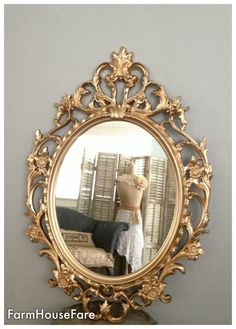 Ornate Mirrors, Baroque Mirror, Large Gold Wall Mirror, Hollywood Regency Shabby Chic Scroll Oval Mirror Bathroom Mirror, Nursery Mirror on Etsy, $158.00