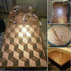 Beau Penny Table Top ~ This Guy Gathered Pennies And What He Did With Them Is  Beyond Creative